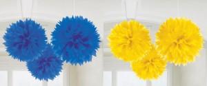 """3 décos de plafond """"Fleur en papier couleur unie"""""""