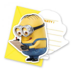 "6 cartons d'invitation ""Les minions"""