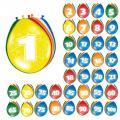 8 ballons colorés avec chiffre
