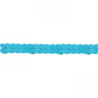 Guirlande unicolore en papier gaufré 3,6 m - turquoise