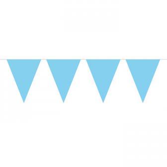 Guirlande de fanions unicolore 10 m - bleu clair