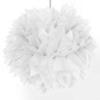 """Déco de plafond """"Pompon en papier crépon"""" 30 cm - blanc"""