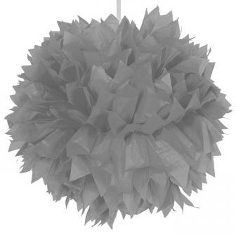 """Déco de plafond """"Pompon glamour en papier crépon"""" 30 cm - argent"""