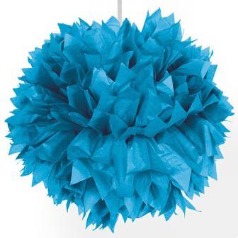"""Déco de plafond """"Pompon en papier crépon"""" 30 cm - turquoise"""