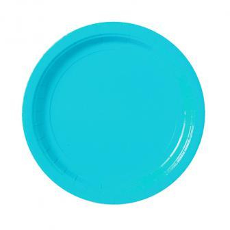 8 assiettes en carton unies 22,8 cm - turquoise