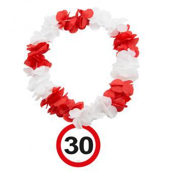 """Collier de fleurs 30 ans """"Panneau de limitation de vitesse"""""""