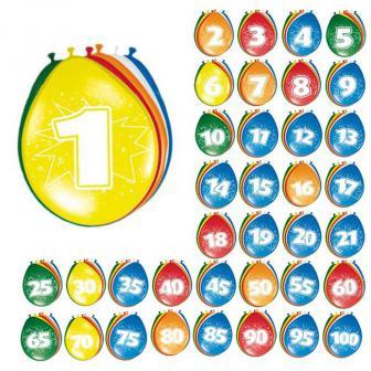 8 ballons colorés avec chiffre - 60