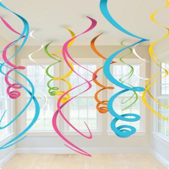 12 spirales colorées à suspendre