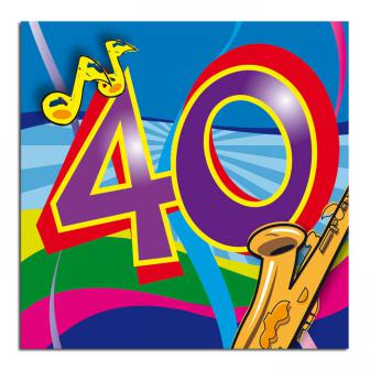 "20 serviettes en papier ""Music Party 40 ans"""