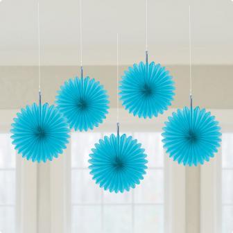 """Déco de plafond """"Fleurs en papier alvéolé"""" 15 cm 5 pcs. - bleu clair"""