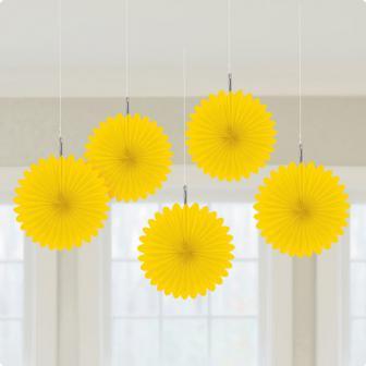 """Déco de plafond """"Fleurs en papier alvéolé"""" 15 cm 5 pcs. - jaune"""