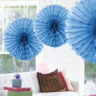 """Déco de plafond """"Éventail en papier crépon"""" 45 cm - bleu"""