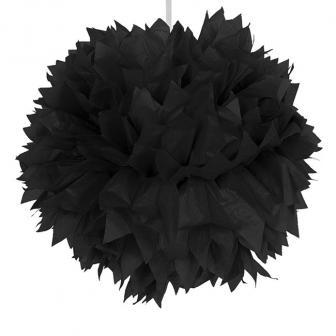 """Déco de plafond """"Pompon en papier crépon"""" 30 cm - noir"""