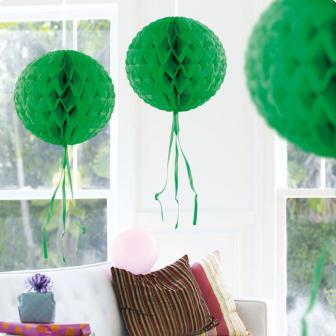 """Déco de plafond """"Balle en papier crépon"""" 30 cm - vert"""