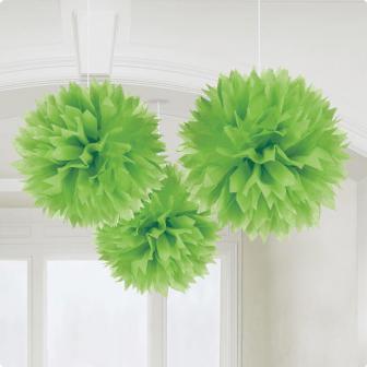 """3 décos de plafond """"Fleur en papier couleur unie"""" - vert"""