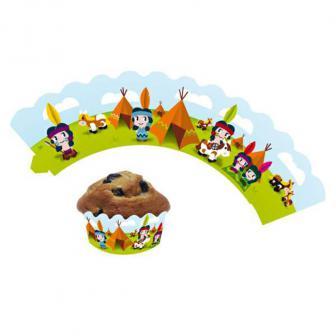 """Banderoles de déco pour muffins """"Drôles d'indiens"""" 12 pcs."""