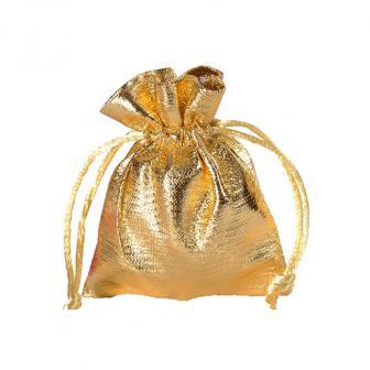 6 petits sacs unicolores brillants - doré