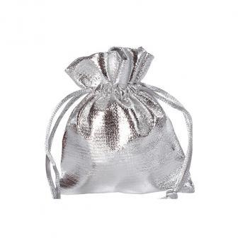 6 petits sacs unicolores brillants - argenté