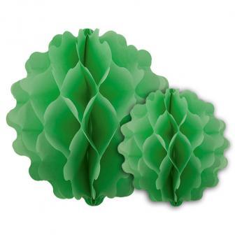 2 Suspensions unicolore en papier alvéolé - vert
