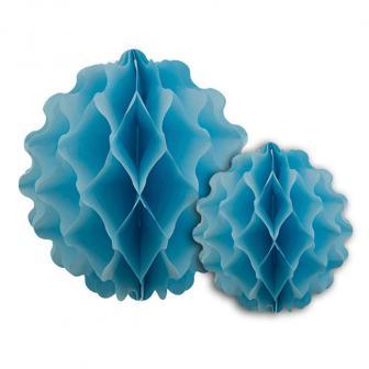 2 Suspensions unicolore en papier alvéolé - bleu clair