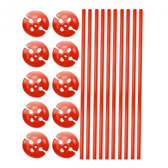 10 tiges unicolores pour ballon avec embouts - rouge
