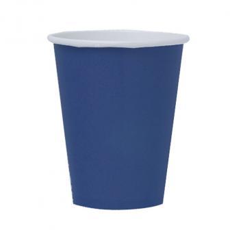 8 gobelets en carton unis 266 ml - bleu marine