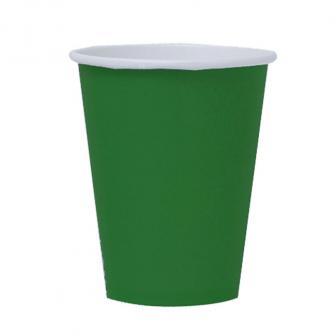 8 gobelets en carton unis 266 ml - vert émeraude