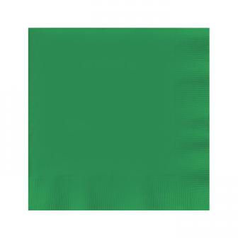 20 serviettes unies - vert émeraude