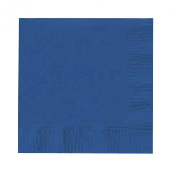 20 serviettes unies - bleu marine