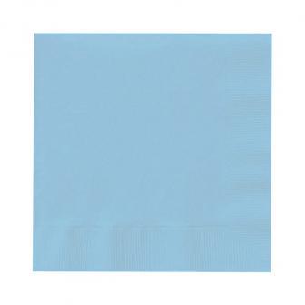 20 serviettes unies - bleu pastel