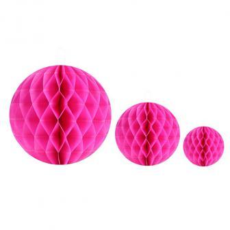 2 balles unicolores en papier gaufré - rose vif-10 cm