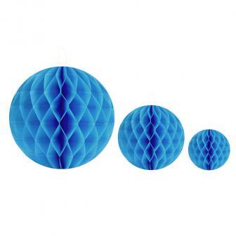 2 balles unicolores en papier gaufré - turquoise-10 cm
