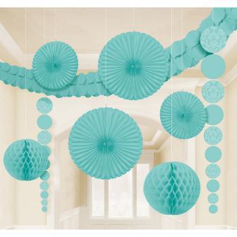 """Kit de déco de plafond """"Jeu de couleurs"""" 9 pcs. - turquoise"""