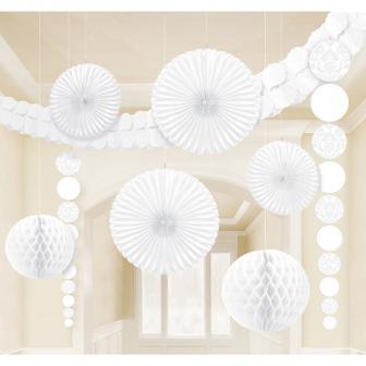 """Kit de déco de plafond """"Jeu de couleurs"""" 9 pcs. - blanc"""
