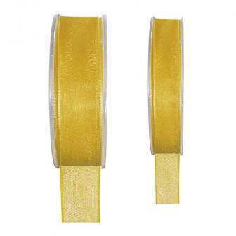 Ruban de déco Organdi unicolore - jaune-15 mm