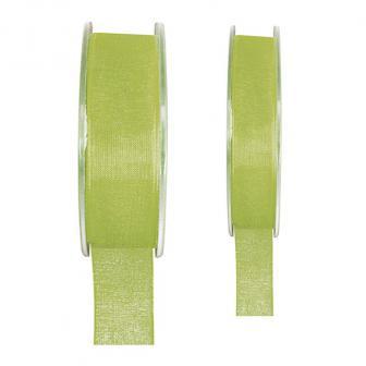 Ruban de déco Organdi unicolore - vert-15 mm