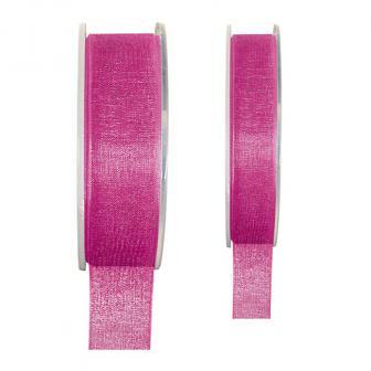Ruban de déco Organdi unicolore - rose vif-15 mm