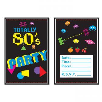 "8 cartons d'invitation ""Totally 80's"" avec enveloppes"