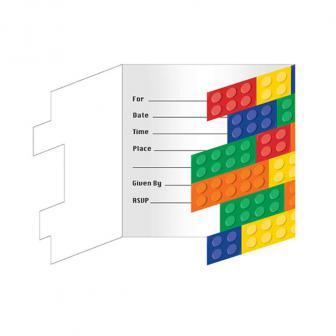 """8 cartons d'invitation """"Briques colorées"""" avec enveloppes"""