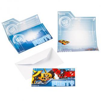"8 cartons d'invitation ""Transformers fantastiques"" avec enveloppes"