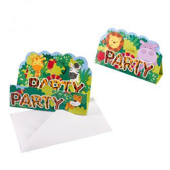 """8 cartons d'invitations """"Adorables animaux de la jungle"""" avec enveloppes"""