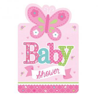 """8 cartons d'invitations """"Bienvenue petite princesse"""" avec enveloppes"""
