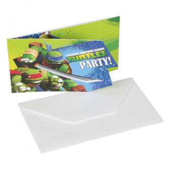 "6 invitations ""Tortues Ninja"" avec enveloppes"