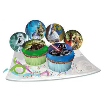 """12 disques comestibles pour muffins """"Star Wars"""""""
