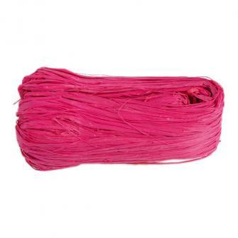 Raphia naturel coloré 50g - rose vif