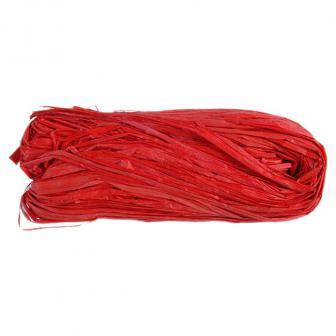 Raphia naturel coloré 50g - rouge