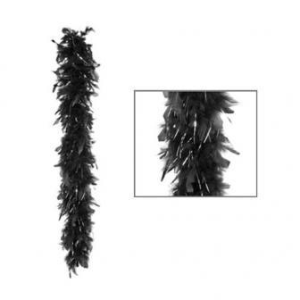 """Boa de plumes """"Glamour"""" noir 180 cm - argenté métallisé"""