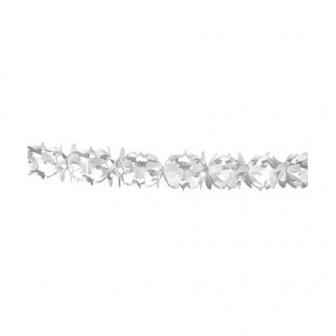 Guirlande festive en papier blanc 6 m