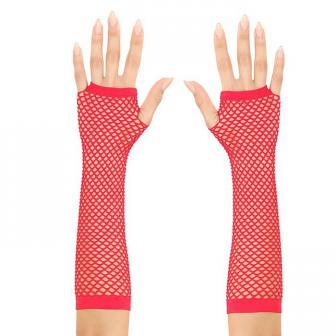 Longs gants résille sans doigts 30 cm - rouge
