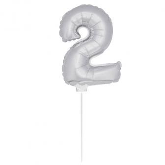 """Ballon en alu """"Chiffre argenté"""" avec tige 36 cm - 2"""